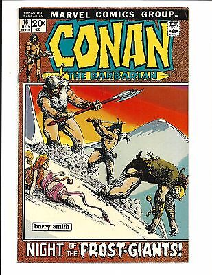 CONAN THE BARBARIAN # 16 (BARRY SMITH art, JULY 1972), FN/VF