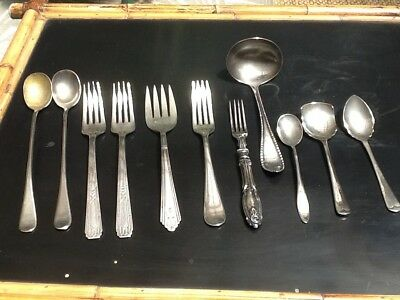 11 Pc Mixed Lot Vintage Silver Plate Flatware Serving Odds Ends Oneida Crown