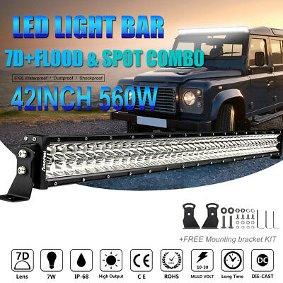 """560W 42""""IN LED Work Light Bar Flood Spot Combo Offroad 4WD Boat Driving LUMILEDS"""