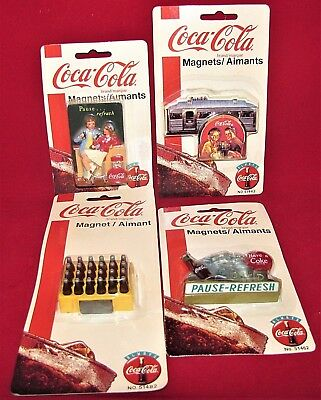 Vtg Lot 4 Coca-Cola Magnets Aimants New Old Stock 1990's Sealed Card Collectible