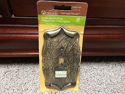 Vtg Amerock Scrolled Brass C-9081-AE Switch Plate Outlet Cover Textured