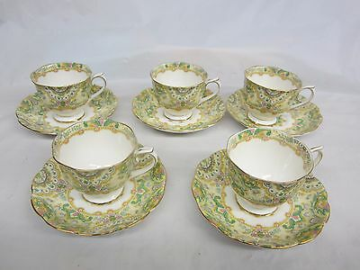5 Rare  Royal Albert Paisley Shawl Tea Cups and Saucers