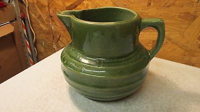 Antique McCoy Pottery Yellow Ware Green Pitcher