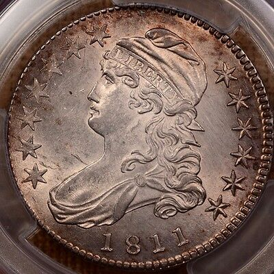 1811 O.111 Bust half, PCGS UNC det, great tone full luster   DavidKahnRareCoins