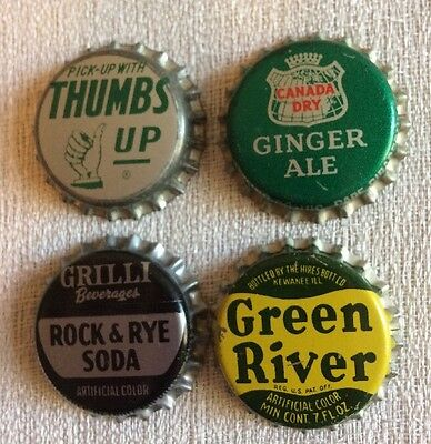 VINTAGE Lot Of 4 Soda Bottle Cap Thumbs Up, Green River, Grilli Rock & Rye, + 1