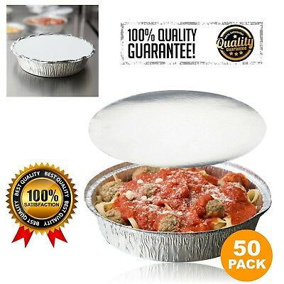 "50Pcs Round 9"" Disposable Aluminum Foil Pan Food Container Baking With Flat Lids"