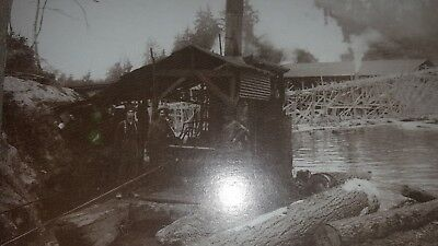 Real photo vintage postcard 1895 loggers and steam donkey Pacific Northwest