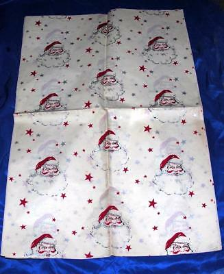 "7 Vtg Sheets 1940's Art Deco Xmas Santa Gift Wrap Paper 20"" X 30"", Unused Crafts"