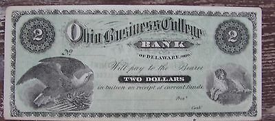Rare Obsolete 2$ Bank Note For Ohio Business College Tuition Early 1900's?