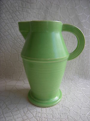 Vintage Art Deco Lime Green Pottery Pitcher Vase Nice Decorator Piece