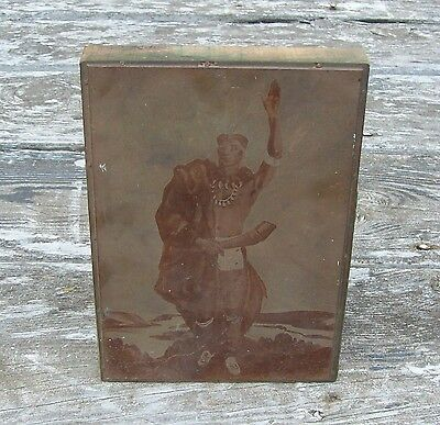 Vintage Antique Copper & Wood Native American Indian Printers Block Print.