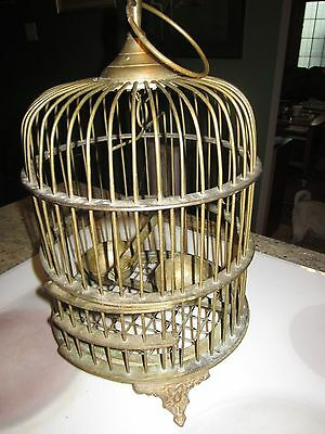 vintage heavy brass birdcage cast brass feet ornate
