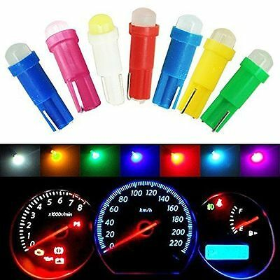 100Pcs Mixed Colors T5 COB Wedge Plate Cluster Gauge LED Dashboard Light Bulbs