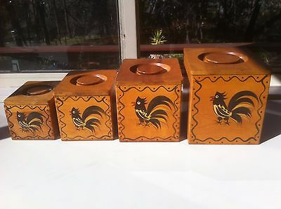 Vintage Woodpecker Woodware 4 Nesting Canisters,boxes.Rooster.Mid Century.Japan