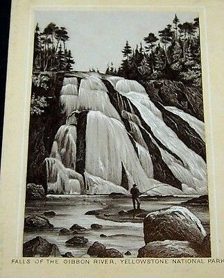 Antique Jersey Coffee Trade Card-Falls Of Gibbon River-Yellowstone National Park