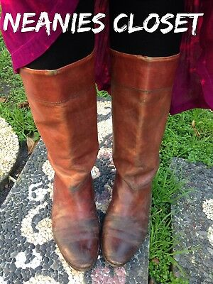 Vintage Catleia Leather Flat Boots Reddish Tan Well Loved Boho Western Look Cute