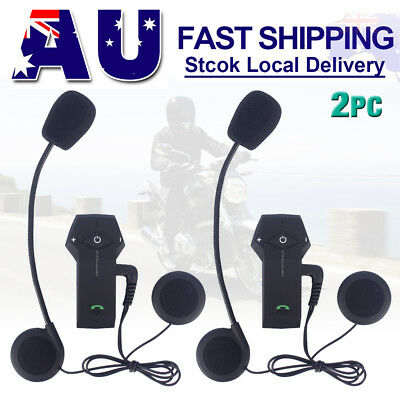 2x 1000m BT Interphone Bluetooth Motorcycle Helmet Intercom Headset NFC FM Radio