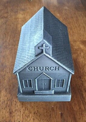 1974 Banthrico Old Church Building Metal Piggy Bank Excellent Condition