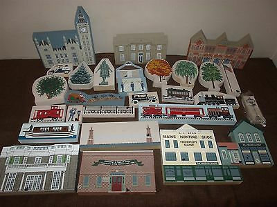 Lot of 28 Cat's Meow Wooden Village Shelf Sitters Buildings Accessories Trees...