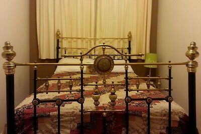 Antique Brass Bed With Porcelain Inserts And Mattress