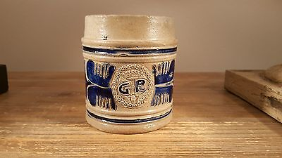 Rare superbly decorated mid 1700s Westerwald Georgian GR sprigged stoneware mug