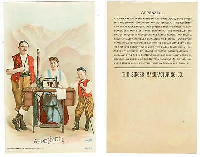 beautiful 1894 Appenzell Switzerland trade card - Singer Sewing Co
