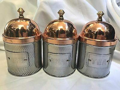 NEW set 3 coffee sugar tea copper & silver tone metal canisters flair design