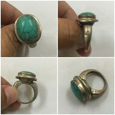 Men's Malachite Rings Near Eastern Vintage Religion Medieval Afghan Antique 7.5