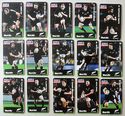 ALL BLACKS RUGBY 2017 !! 'DARE TO DREAM' Full 15 set cards New Zealand Weetbix