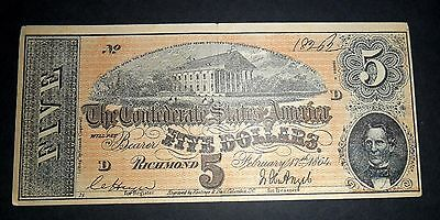 The Confederate States America, Five Dollar Bank Note 1864