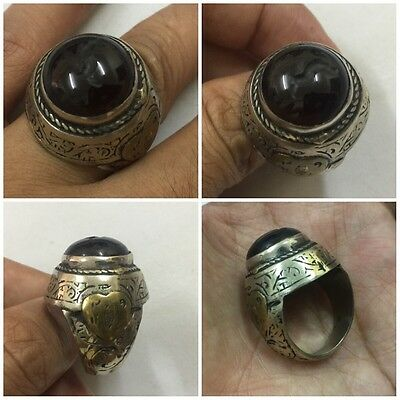 Men Engraved Carnelian Ring Islamic Vintage Agate Deer Intaglio Afghan Antique 9