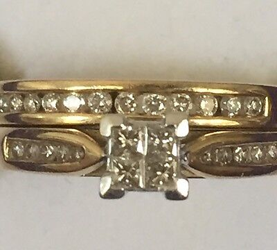9ct Yellow Gold And Genuine Diamond Engagement Wedding Dress Ring Set Size P