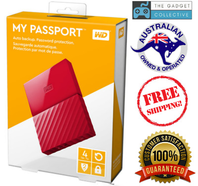 WD 4TB Red My Passport Portable External Hard Drive HDD USB 3.0