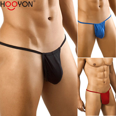Mens G Strings Bulge Pouch Briefs T Back Pouch Thongs Bikini Underpants Black