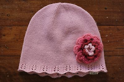 Baby girls beanie winter hat TOSHI (size M) pink flower