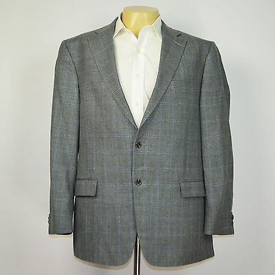 HART SCHAFFNER MARX 100% Wool Gray Windowpane Two Button Blazer Sport Coat 46R