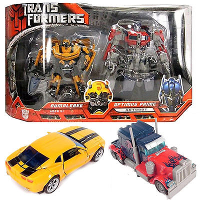 2 Deluxe Set 8' Large Optimus Prime + Bumblebee Transformers Action Figures Toy