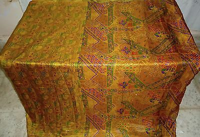 Pure silk Antique Vintage Sari Saree Fabric REUSE 4y Bu 1314 Golden #ABK1G