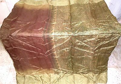 Pure silk Antique Vintage Sari Saree Fabric REUSE 4y Bu 1314 Coffee #ABK1V
