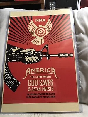 Shepard Fairey Obey Giant NRA God Saves & Satan Invests Print Poster 11x17