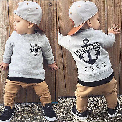 Toddler Kids Baby Boy T-shirt Tops+Pant Trousers Outfit Clothes Set Tracksuit