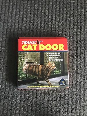 Transcat Cat Door Dog Flap Glass Fitting 4 Way Locking Clear Small Pet Door