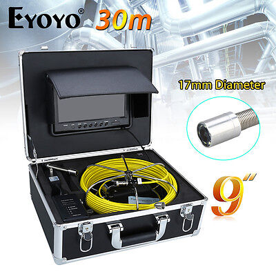 """Eyoyo 30M 9"""" LCD 17mm Sewer Camera Pipe Pipeline Drain Inspection Color 1000TVL"""