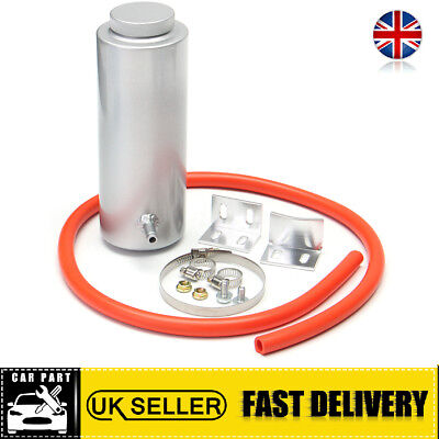 800ml Silver Cylinder Radiator Overflow Reservoir Aluminum Coolant Catch Tank UK