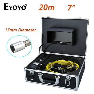 """Eyoyo 20M 7"""" LCD 17mm Wall Drain Sewer Pipe Line Inspection Camera System Color"""