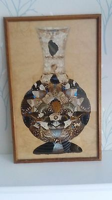 Beautiful vintage Deco butterfly wings framed picture