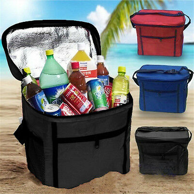 Insulated Waterproof Thermal Shoulder Picnic Cooler Storage Tote Lunch Bag Black