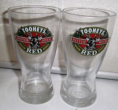 2 Toohey's Red beer glasses
