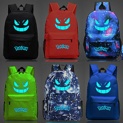 Unisex Pokemon Luminous Gengar Galaxy Backpack Rucksack Girls Boys School Bag