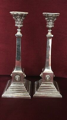 "Antique Sterling Solid Silver 13.5"" Column Candlestick With 4 Lion Bir 1933 Bgc"